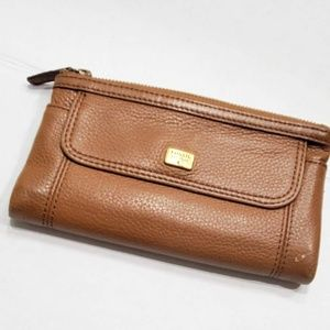 Vintage Fossil Folding Snap Leather Wallet